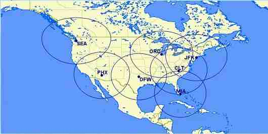 Here are all of the major AA, US, and Alaska hubs, and the 650 mile zones that offer award flights for 4,500 Avios one way.