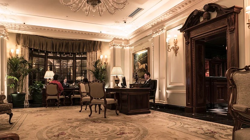 The elegant reception area off the main lobby.