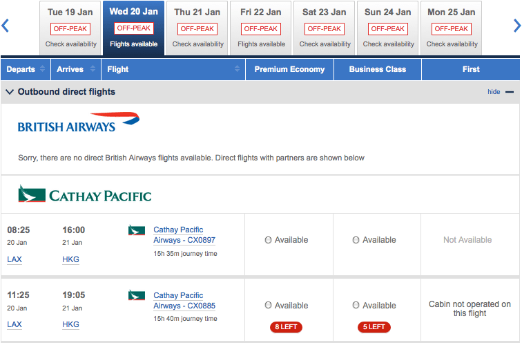 Cathay award availability often opens up close in.