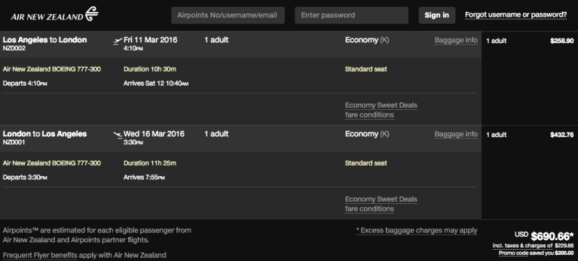 Los Angeles (LAX) to London (LHR) for $691 in economy on Air New Zealand.