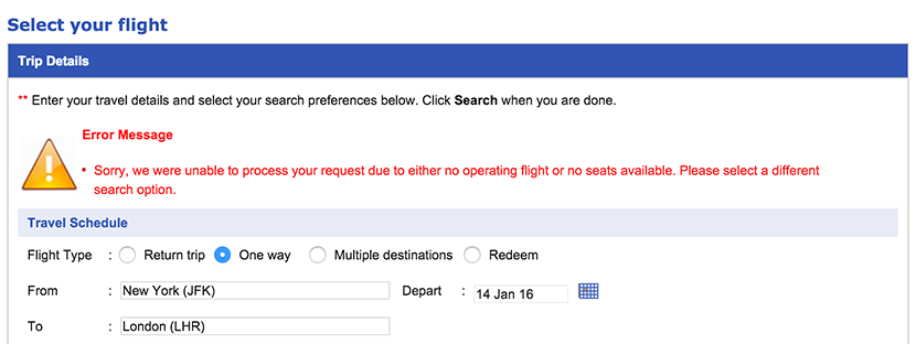 If you try to book this same route now, you'll be presented with this message.