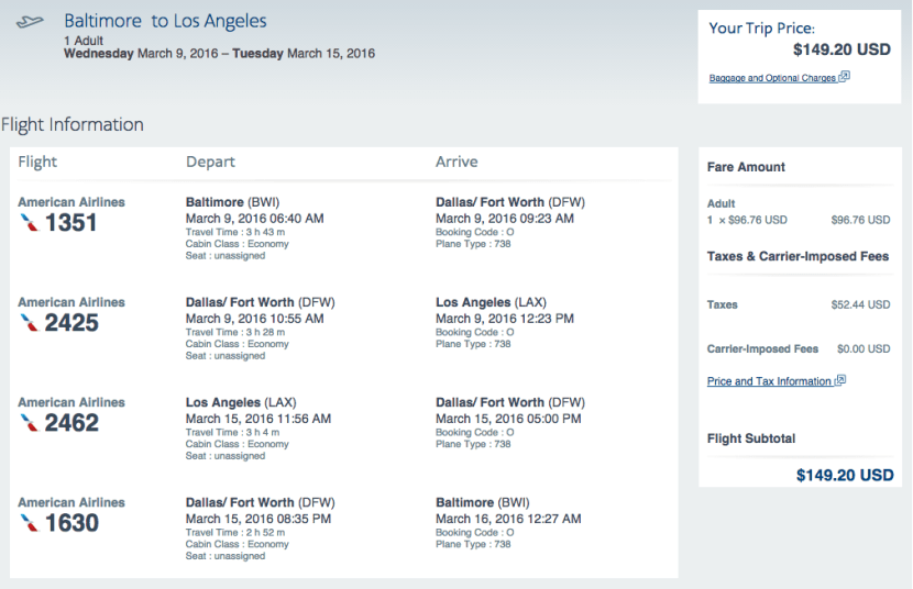 Baltimore (BWI) to Los Angeles (LAX) for $149 round-trip on American Airlines.