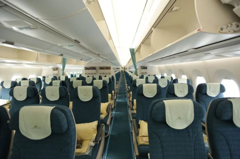 The premium economy cabin on Vietnam Airlines' A350.