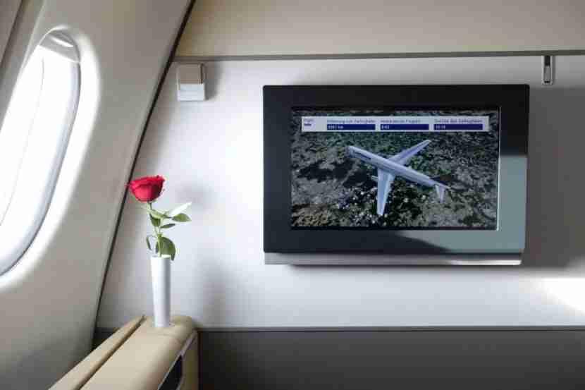 Each seat has the trademark Lufthansa rose.