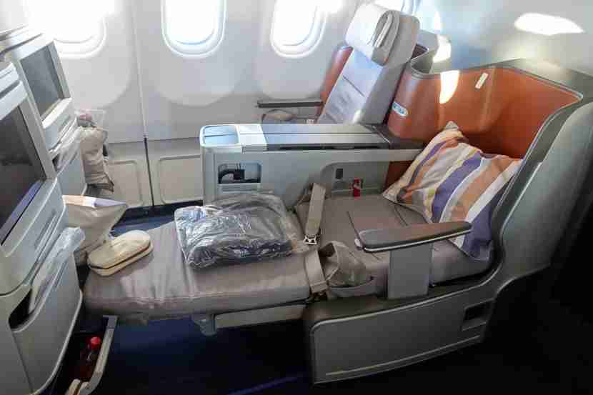 A business-class seat on Lufthansa