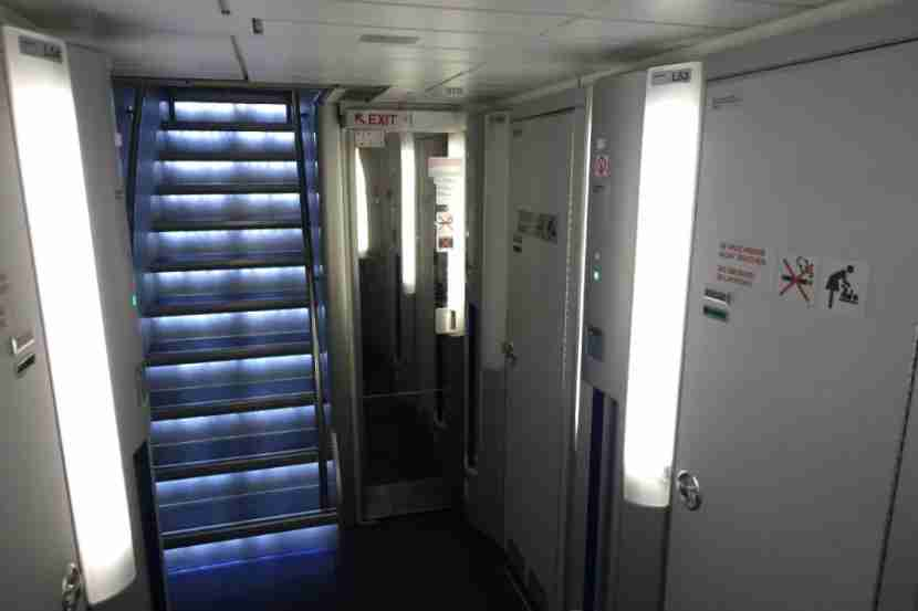 A bank of lavatories below the cabin, unique to the A340-600.