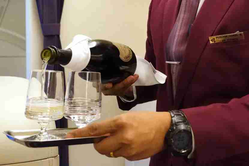 Thai serves Dom Perignon Champagne on all first-class flights.