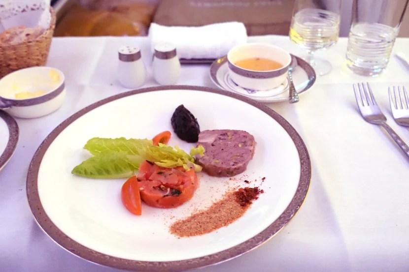 Next, Thai served an appetizer of foie gras.