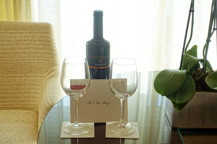 Complimentary red wine is always a good thing.