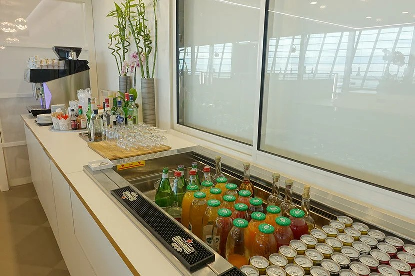 The drink selection isn't on par with what you'll find at premium airline lounges.