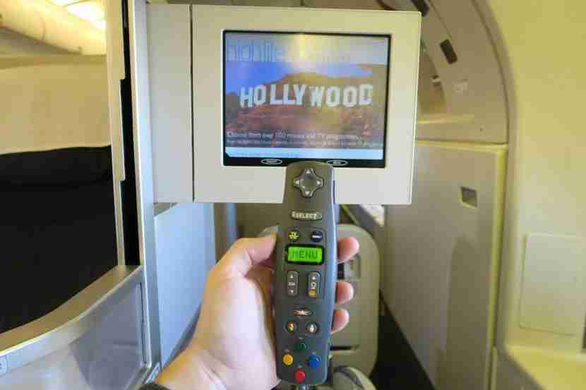 In-flight entertainment screen and remote.