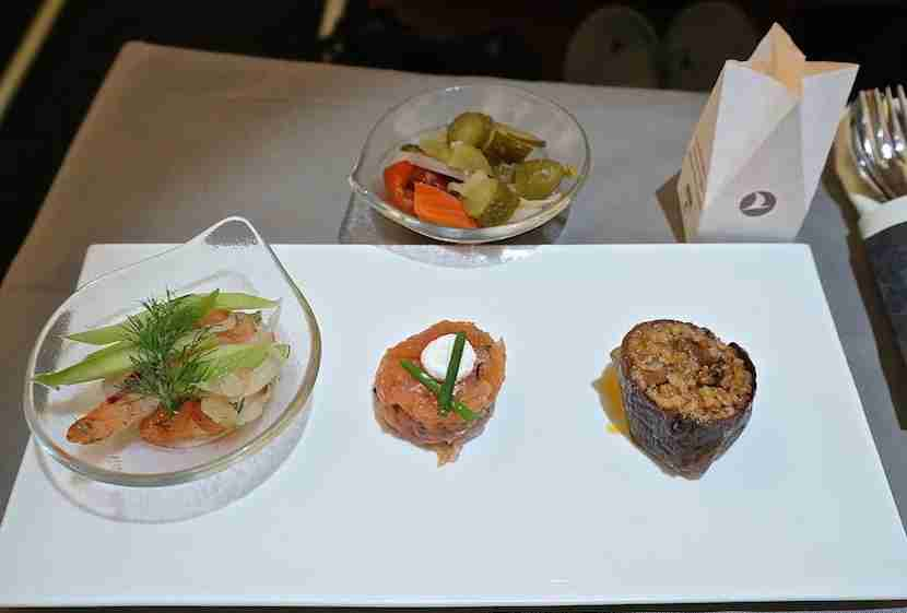 Prawns, salmon tartare and eggplant dolma on Turkish Airlines, one of the only airlines where I