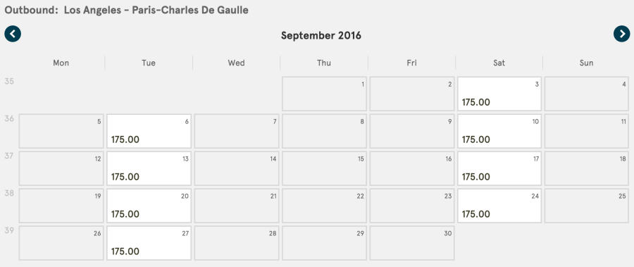 One-way fares from Los Angeles (LAX) to Paris (CDG) starting at $175 in October.