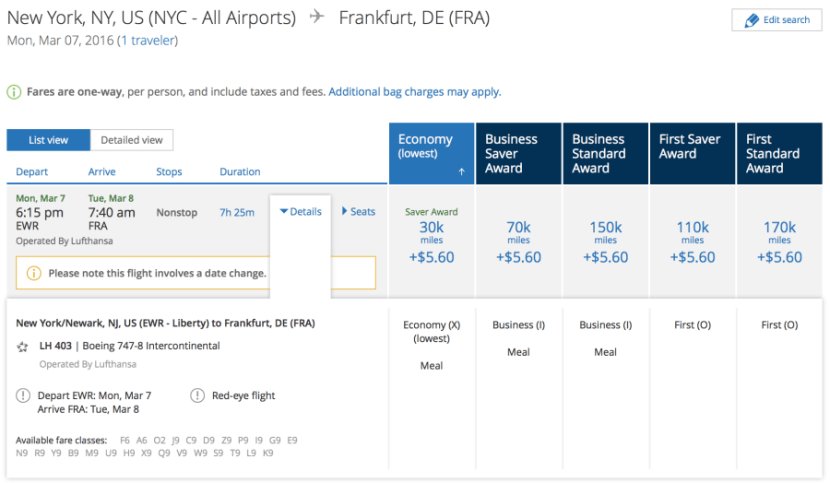 Lufthansa first-class award availability.