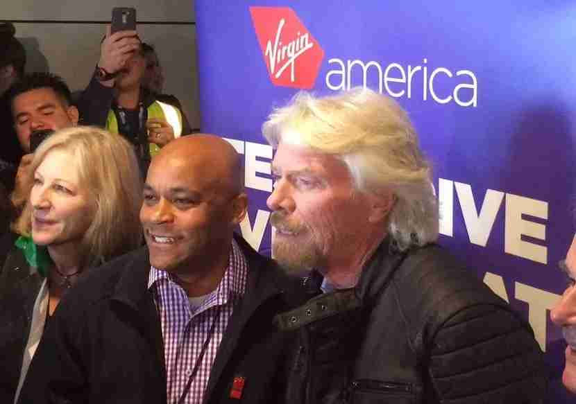 Sir Richard Branson, Mayor Michael Hancock, and Kim Day, director of Denver International Airport.