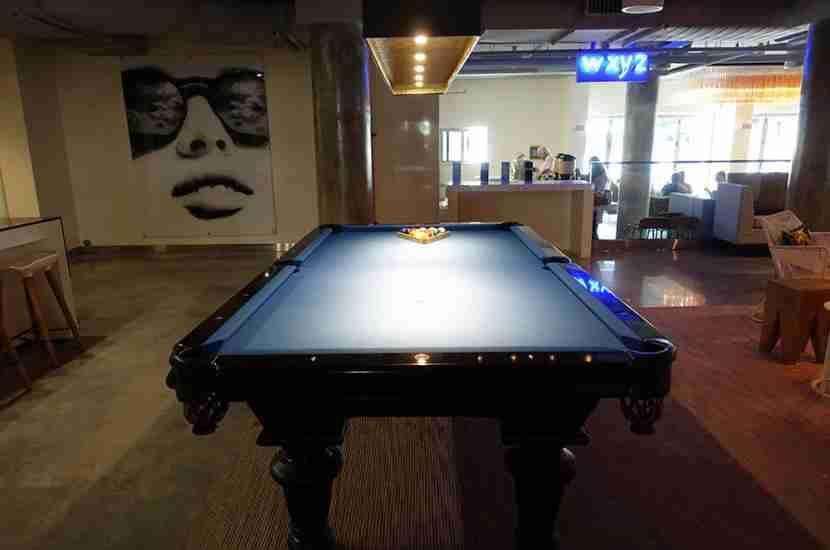 The lobby pool table.