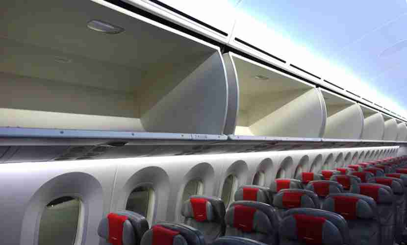 The overhead bin space on the Dreamliner is very large.