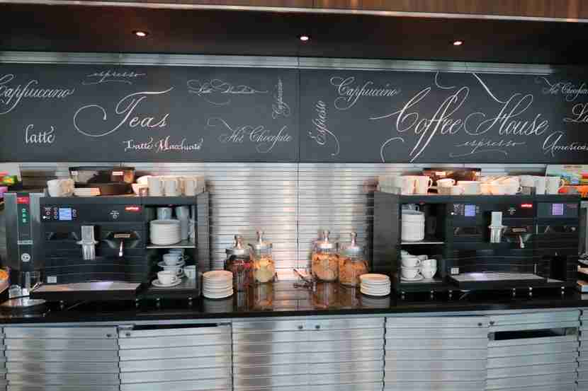 There are a few self-serve coffee/tea stations throughout the lounge.