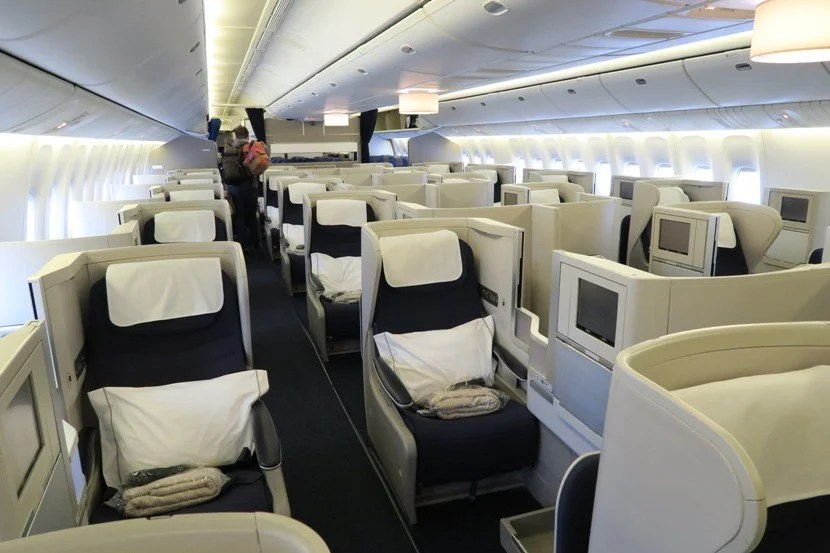 The Club World cabin on BA's 777-200.