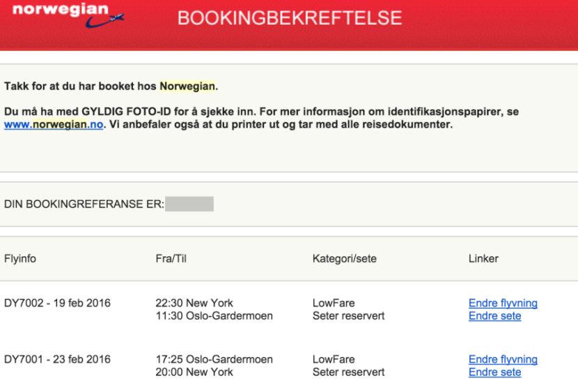 A very Norwegian confirmation email.