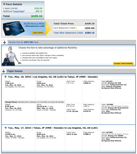 Los Angeles (LAX) to Tokyo (HND) for $439.