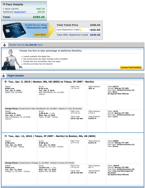 Boston (BOS) to Tokyo (NRT) for $587.