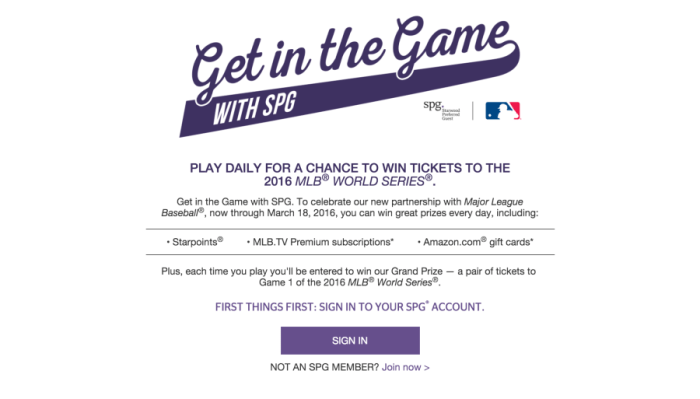 "SPG's new ""Get in the Game"" promotion."