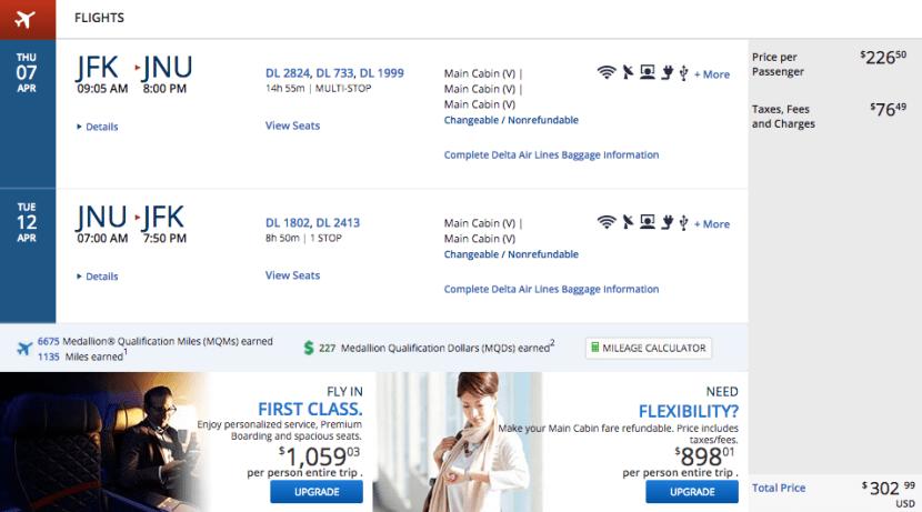 New York (JFK) to Juneau, Alaska (JNU) for $303 on Delta.