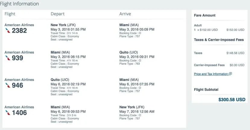 New York (JFK) to Quito, Ecuador (UIO) for $301 on American.