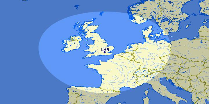 Map of destinations with 650 miles of LHR