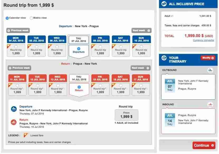 New York (JFK) to Prague (PRG) for $1,999 in Turkish business class.