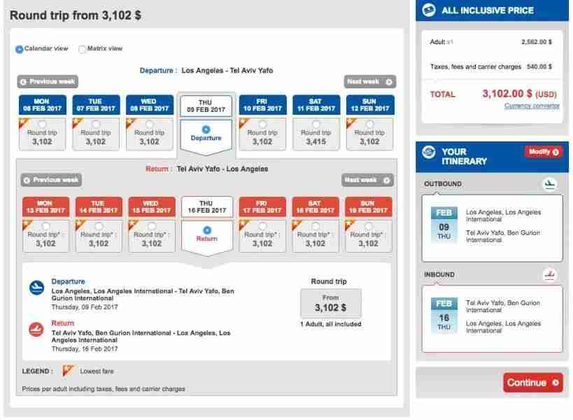 Los Angeles (LAX) to Tel Aviv (TLV) for $3,102 in Turkish business class.