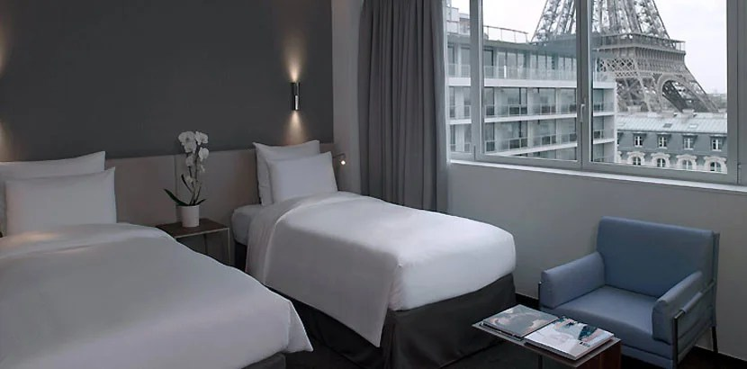 A Superior Eiffel View Room at the Hotel Pullman Paris Eiffel Tower. Image courtesy of Accor Hotels.