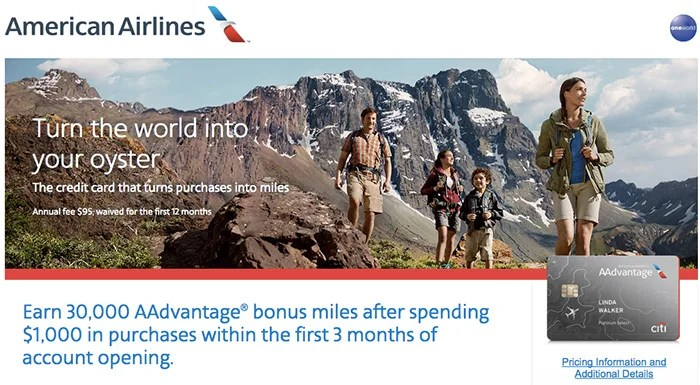 Earn 30,000 miles when you sign up for the Citi AAdvantage Platinum Select MasterCard.