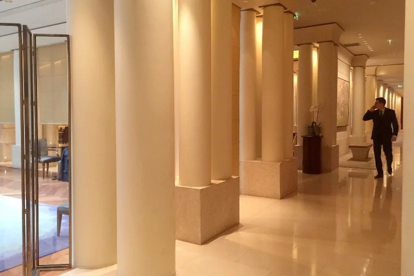 A view of the lobby near the elevators.