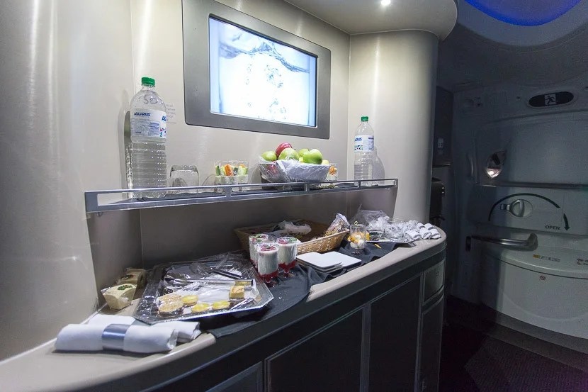 On the plus side, there's actually a decent spread of food in the bar between the two business-class cabins.