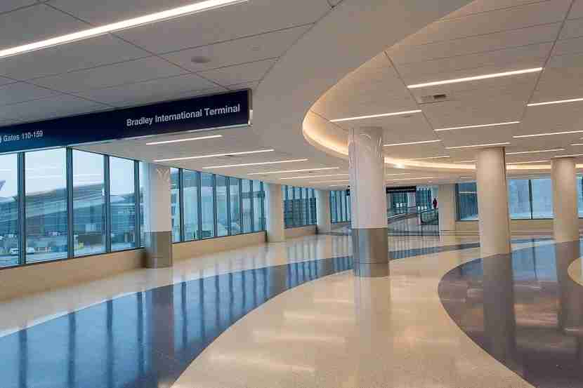 Rounding the corner, you can see some pretty great views of both Terminal 4 and TBIT gates.