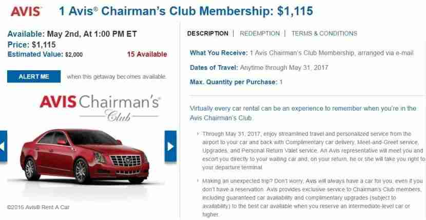 Gain access to the exclusive Avis Chairman