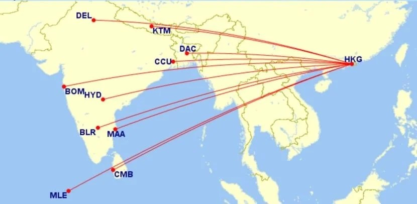Cathay's nonstop options from Hong Kong to the Indian Subcontinent.