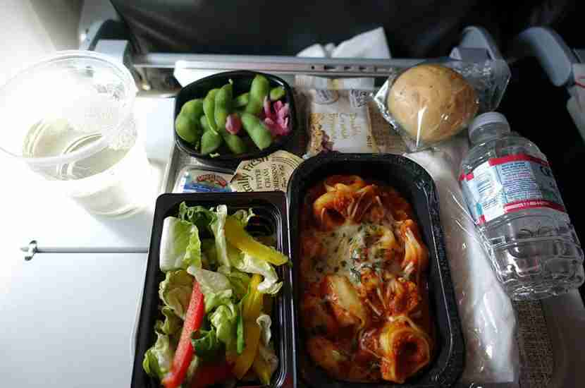 Lunch on the outbound flight — cheese tortolini.