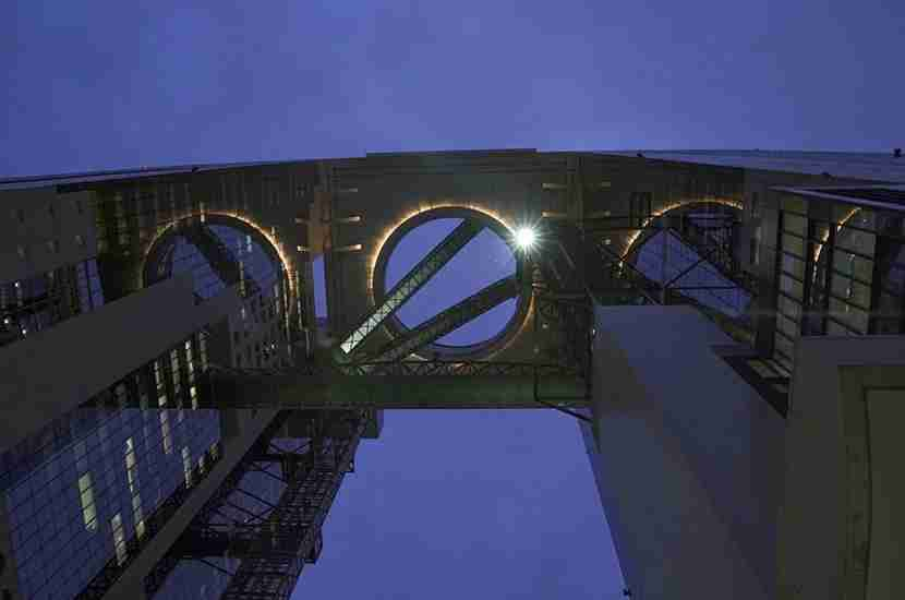 Looking up at the Umeda Sky Building.