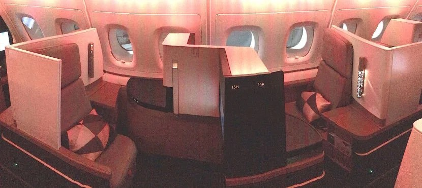 A panorama of front-rear facing seats on the side.