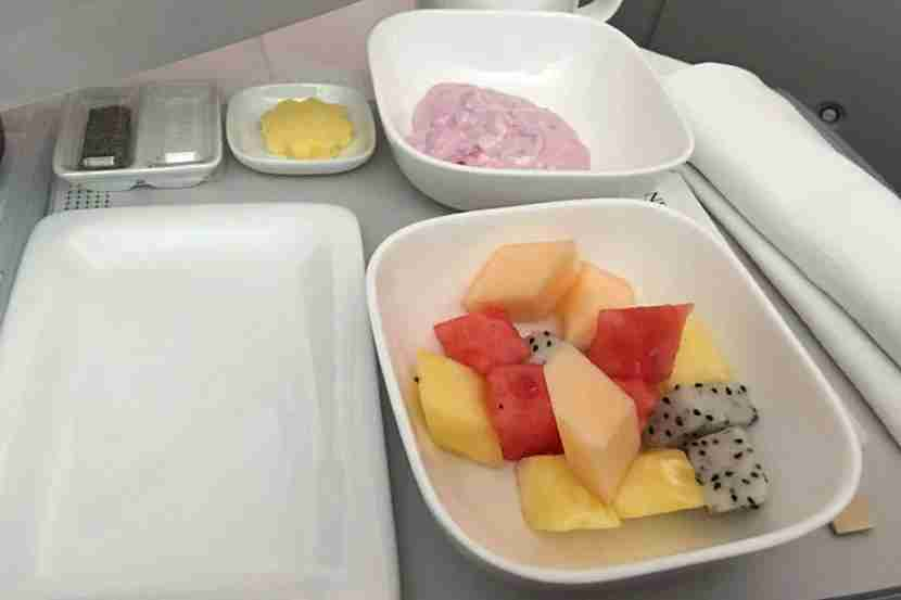 Perfectly ripe fruit and quality yoghurt started off the breakfast service.