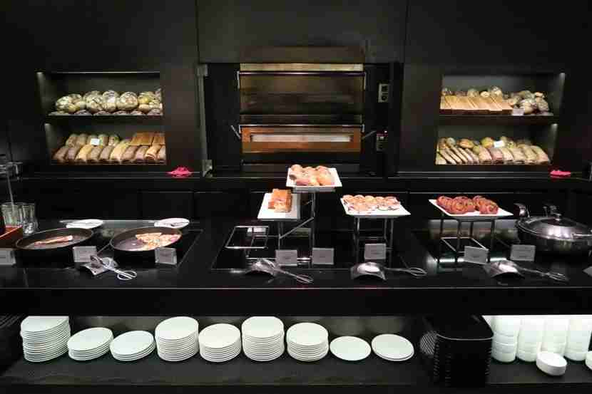 "The Cathay Pacific ""The Bridge"" lounge offered a wide-variety of delicious food options."