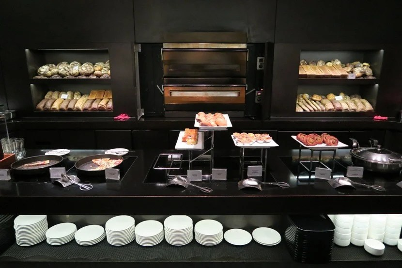 """The Cathay Pacific """"The Bridge"""" lounge offered a wide-variety of delicious food options."""