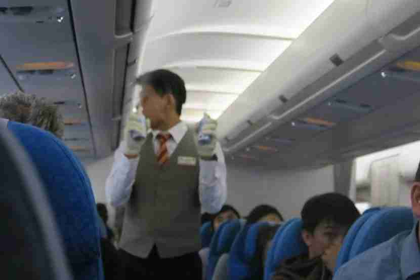The cabin crew sprayed the cabin right before landing in KUL.