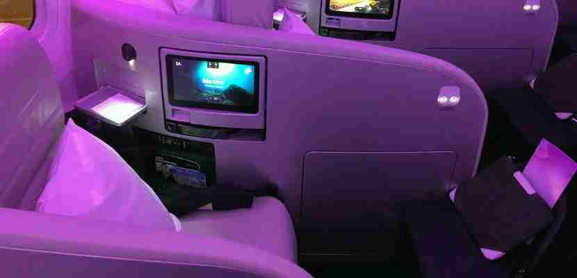 A business-class seat on board Air New Zealand