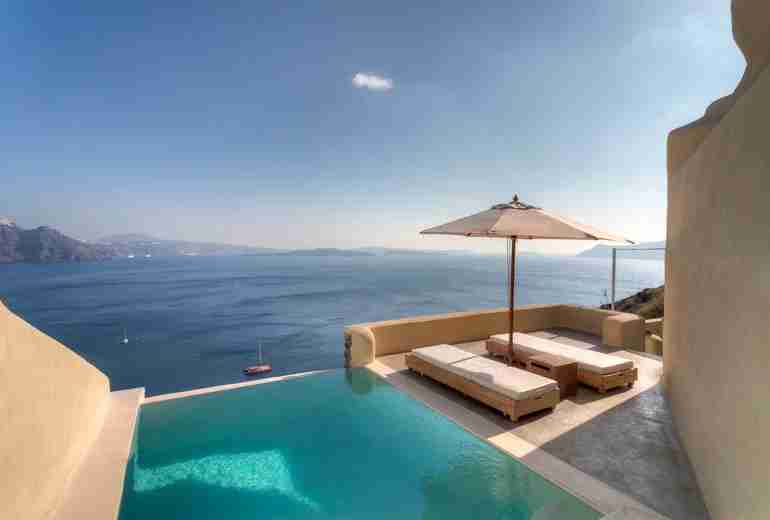 A private plunge pool at the Mystique Luxury Collection Hotel in Santorini, Greece.