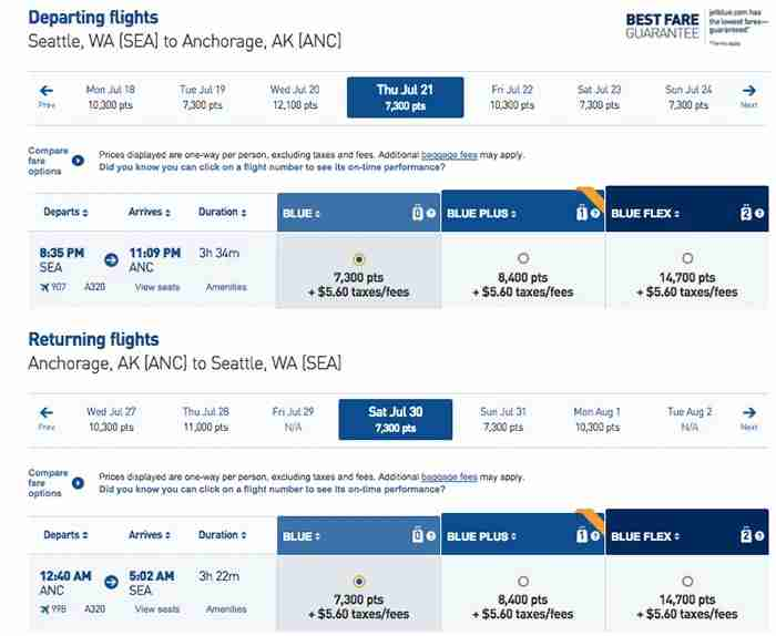 30,000 points is almost enough to cover two round-trip flights from Seattle to Anchorage.