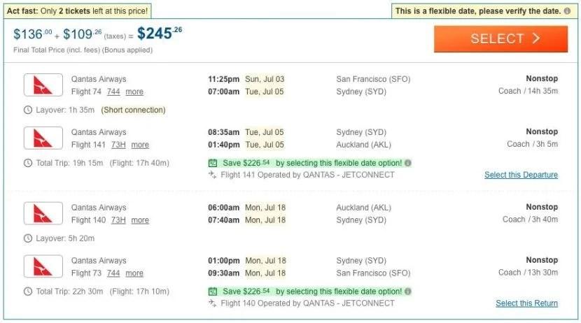 San Francisco (SFO) to Auckland (AKL) for $225 on Qantas.